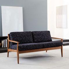 Mathias Mid-Century Wood Frame Loveseat | west elm