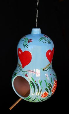 New  BLUE HEAVEN BIRDHOUSE A Hand Decorated Glazed by KrugsStudio, $100.00