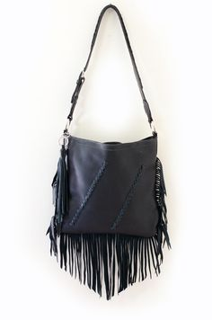 Black Leather Fringe Purse, Shoulder Bag, Cross Body, Black Fringe and Tassel, Handmade in USA, Black Leather Bags