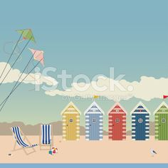 Deckchairs and Beach Huts royalty-free stock vector art