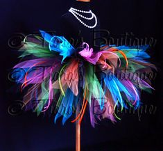 "Color Explosion Tutu - Black Neon Rainbow Tutu w/ Ribbon Streamers - 3 Tiered 15"" Pixie Tutu - girls sizes 6 to 8 or up to a 24"" waist. $63.00, via Etsy."