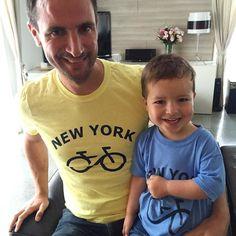 Ce matin c'est t-shirt New York pour père et fils !!!   Merci @centralparksightseeing