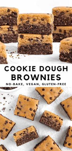 No bake cookie dough brownies are a healthy dessert recipe! They're vegan, gluten-free, oil-free, and sweetened with dates. The soft, chewy, fudgy brownies are topped with a thick layer of grain-free chocolate chip cookie dough. Made in 30 minutes with healthy ingredients like almond flour, nut butter, nuts, dates, and maple syrup. #vegan #nobake #nobakedesserts #cookiedoughbrownies #cookiedough #brownies #grainfree #medjooldates #almondflour Healthy Vegan Desserts, Raw Desserts, Vegan Sweets, Healthy Dessert Recipes, Gluten Free Desserts, No Bake Desserts, Baking Recipes, Vegan Recipes, Vegan Snacks