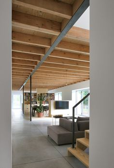 urbain architectencollectief, Filip Dujardin · reconversion of a detached house from into a low energy house Arch Interior, Home Interior Design, Architecture Office, Architecture Details, Wood Interiors, House Extensions, Cladding, House Plans, New Homes