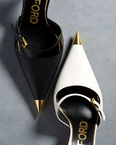 TOM FORD: The Leather Mary Jane Mules designed with a sharp gold metal toe cap and an angular gold heel. Gold Heels, Stiletto Heels, High Heels, Stilettos, Zapatos Tom Ford, Cute Shoes, Me Too Shoes, Shoe Boots, Shoes Heels