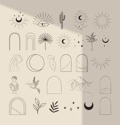 Mini Tattoos, Cute Tattoos, Small Tattoos, Spiritual Logo, Mystic Symbols, Modern Bohemian, Lettering Tutorial, Designs To Draw, Line Drawing
