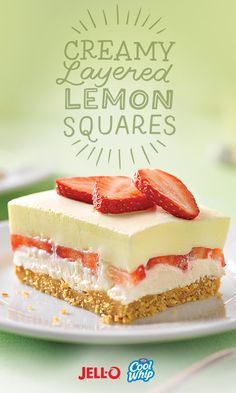Combine sweet berry and bright citrus tastes with our Creamy Layered Lemon Squares. Lemon gelatin and strawberries meet in these layered lemon squares. Jello Desserts, Jello Recipes, Lemon Desserts, Lemon Recipes, Summer Desserts, No Bake Desserts, Just Desserts, Baking Recipes, Delicious Desserts