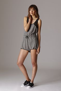 CSBLA's pima cotton and polyester romper. Sneakers by Adidas Originals.  [Photo by George Chinsee]