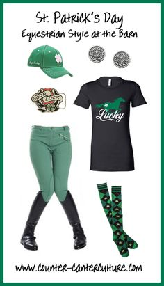 Don't get caught without your green this St. Patrick's Day! Here's how to wear it at the barn courtesy of Riding Habit Revised. http://www.counter-canterculture.com/?p=2913
