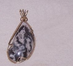 FREE S - Pendant - Black & White Lace Agate Wrapped in Gold - A JewelryArtistry Original - P93