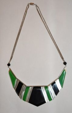 Art Deco Jakob Bengel Necklace Chrome with Green and Black Galalith