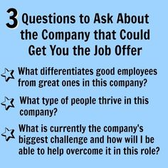 3 essential interview questions to ask about the company. Job Interview Answers, Interview Questions To Ask, Job Interview Preparation, Job Interview Tips, Job Interviews, Job Resume, Resume Tips, Job Career, Career Advice