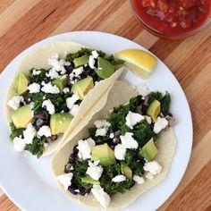 These quick and healthy black bean and kale tacos are ready in 30 minutes.
