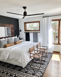 home decor bedroom decor bedroom black Linear Aztec Black Rug Beds: Where is the Best Place to Master Bedroom Design, Home Decor Bedroom, Master Suite, Black Master Bedroom, Bedroom Rugs, Dark Cozy Bedroom, Aztec Bedroom, Master Bedroom Makeover, Guy Bedroom
