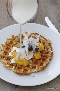 Brown sugar, peaches and cream waffles YUM! | #BabyCenterBlog
