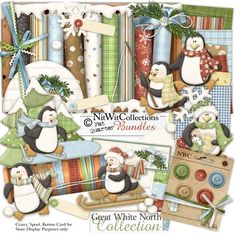 Digital scrapbooking penguin and card making penguin kit.  Who else can live in an igloo for so many days?! FQB - Great White North Collection