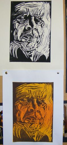 """demo - lino print black on cream paper. and brown ink on top of yellow orange yellow blend on white paper"