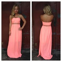 Rooftop Garden..Neon Coral Strapless Maxi Dress with Open Weave Detail... love this