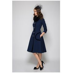 Military-Marine-Coat-Dress-Navy ($1,960) ❤ liked on Polyvore featuring outerwear and coats