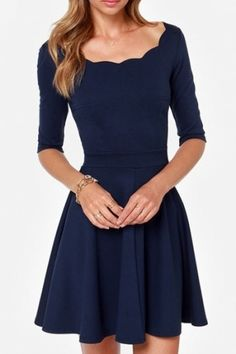 Navy Scalloped Detail Skater Dress