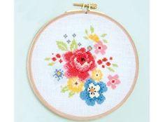 Cross stitch kit with hoop - flower bouquet