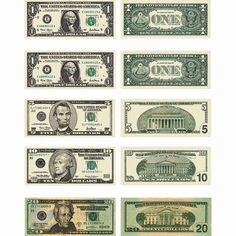 Everyone loves money! Create fun learning games with these U. They are acid free and lignin free; each seal is approximately 2 inches x 1 inch with a total of 60 stickers per pack. Money Template, Templates Printable Free, Coupon Template, Presidents On Money, Us Currency Bills, Printable Play Money, Fun Learning Games, Dollar Money, 100 Dollar