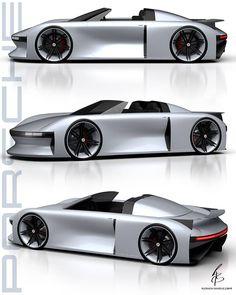 Porsche E concept design by - Car Design Sketch, Car Sketch, Porsche E, Futuristic Cars, Motorcycle Design, Porsche Design, Car Drawings, Transportation Design, Automotive Design