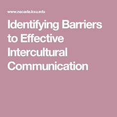 ARTICLE - Identifying Barriers to Effective Intercultural Communication
