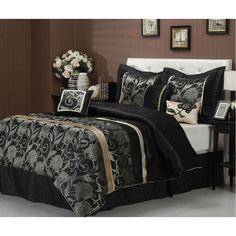 Give your room a new look with this Jacquard silver and black comforter set. Including everything you need in a bed set, the classic black bed skirt features a drop to the floor so it can easily hide things stored underneath the bed. Gold Bed, Comforter Sets, Comforters, Bed Comforters, Home Decor, King Bedding Sets, Bed, Full Bedding Sets, Luxury Bedding