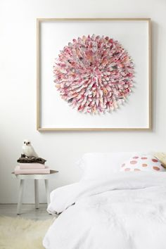 Pretty feather artwork for the bedroom. Mondocherry: art handmade from thousands of paper feathers