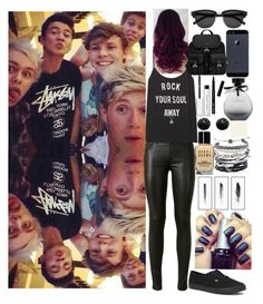 """""""Hanging out with my friends, Michael Clifford, Calum Hood, Ashton Irwin, Luke Hemmings and Niall Horan"""" by harrystyles13wife ❤ liked on Polyvore featuring Yves Saint Laurent, Vans, Prada, American Eagle Outfitters, Bobbi Brown Cosmetics, Kenneth Jay Lane, Kim Salmela and Domo Beads"""