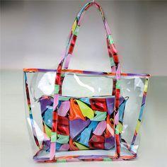KUJING Brand 2017 Fashion Handbags High Quality Printing Women Shoulder Bag Cheap Luxury Travel Leisure Women Make-up Beach Bag Shoulder Handbags, Shoulder Bag, Jelly Bag, Transparent Bag, Transparent Design, Cheap Bags, Big Bags, Handbags Online, Large Tote