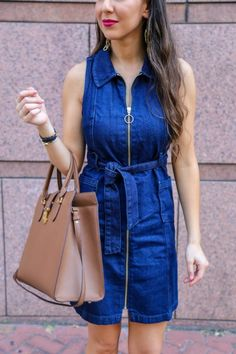 Cute Denim Belted Dr