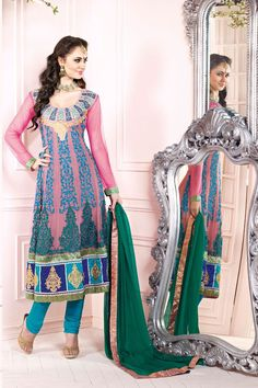 Peach Net Embroidered Party Wear Salwar Suit