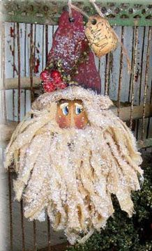 000567  (12) Sweet Muslin Santa Ornaments-