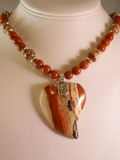 Jasper Heart Pendant Necklace with Rainbow by MagnoliaStudio, $95.00