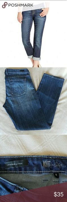 Kut from the Kloth Catherine Boyfriend Jeans These are in beautiful like new condition. The inseam measures 31.5 inches. There are no tears, stains or fraying on the hems.  The adhesive on the tag inside that says Catherine is falling off and that is the only thing that I can see as a flaw on these perfect jeans Kut from the Kloth Jeans Boyfriend