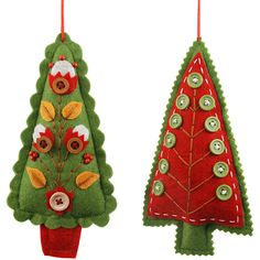 """Felt Button Tree Tie-On in Assorted Colors @Matty Chuah Container Store: 2-3/4"""" x 1-3/8"""" x 7"""" h.  Price: $8.99 ea."""