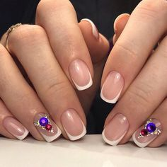 Beautiful winter nails, Nails with rhinestones, Nails with rhinestones ideas, Nails with stones, New year nails ideas 2017, New years nails, Square french nails, White French nails