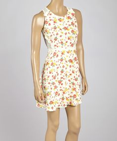 Look at this Lovposh White Floral Sheer-Panel Cutout Sleeveless Dress on #zulily today!