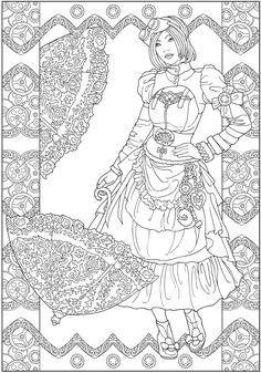 Creative Haven Steampunk Fashions sample colouring pages @ Dover Publications