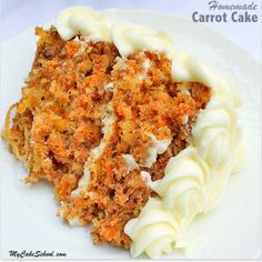 An amazing scratch Carrot Cake recipe, complete with a generous coat of delicious Cream Cheese Frosting. A heavenly dessert! My Cake School.