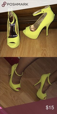 933e0181c77 Heels Brand new Neon heels 💛  Only worn for picture  They are very cute