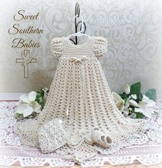 Baby Girls Silk Crochet Baptism / Christening / Blessing