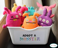 "Reading Buddies! Adapted from a birthday party idea. We used to read to small stuffed animals in my classroom, but this is even cuter! I love the way this looks with the colorful animals all together ... and ""Adopt a Monster""?? Sooo clever and appealing!"