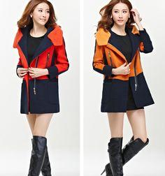 TC001088 Slim long woolen coat thermal Korean style wool coat for women