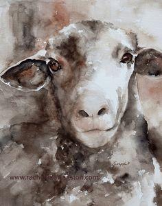 Large sheep PRINT 11x14 from original sheep painting baby