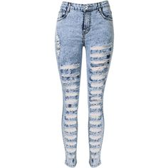 Yoins Skinny Jeans In Snow Wash With Extreme Shredded Rips (464.620 IDR) ❤ liked on Polyvore featuring jeans, pants, bottoms, calças, black, high-waisted skinny jeans, distressed jeans, high-waisted jeans, high waisted ripped skinny jeans and distressed skinny jeans