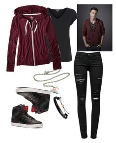 A fashion look from January 2015 featuring purple hoodie, boyfriend tee and destructed jeans. Browse and shop related looks. Movie Inspired Outfits, Disney Inspired Fashion, Teen Wolf Outfits, Teenager Outfits, Casual School Outfits, Cute Swag Outfits, Girls Fashion Clothes, Fashion Outfits, Super Hero Outfits