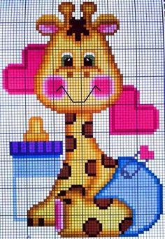 Baby giraffe x-stitch Pixel Crochet Blanket, Graph Crochet, C2c Crochet, Baby Blanket Crochet, Filet Crochet, Cross Stitch Baby, Cross Stitch Animals, Cross Stitch Designs, Cross Stitch Patterns